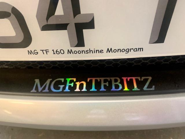 Rare MG TF 160 Moonshine Monogram 54 plate fully renovated at MGFnTFBITZ Glossop front bumper close up