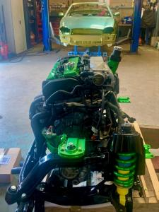 8.MG TF 160 Engine with Candy Lime Green powder coated accessories fitted to new rear subframe - MG TF 160 Bittersweet Renovation at MGFnTFBITZ