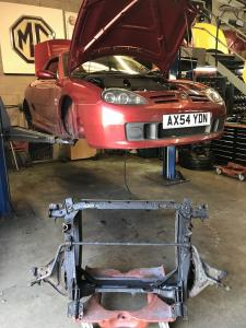 1 Mr S old MG TF front subframe out at MGFnTFBITZ Glossop