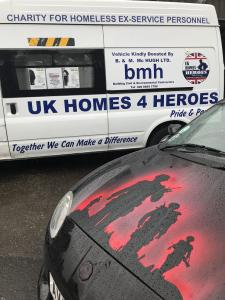 10.Topless Around The Peak District Charity Run 2018 at MGFnTFBITZ UK Homes 4 Heroes Van and Ruth Evans amazing bonnet in honour of the event