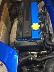 10e. MG TF 160 engine with blue powder coated parts now fitted & working in Mrs B Renovation at MGFnTFBITZ