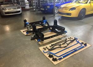 8a. New powder coated subframes braces & parts fitted to Mrs B 52 plate MG TF Renovation at MGFnTFBITZ