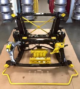 68 MG TF Powder coated subframe suspension parts in black  and yellow from MGFnTFBITZ