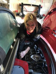 3.Clare from Rough Luck Racing doing the head gasket, making sure Little Red is running perfectly for the lucky winner at MGFnTFBITZ