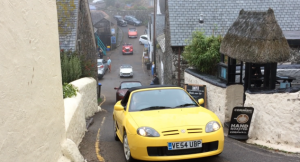MG TF in Trophy Yellow Buttercup Run through Cornwall