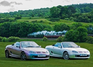 MG TFs with the Flying Scotsman in the backgroundMGFnTFBITZ Customer Cars Gallery